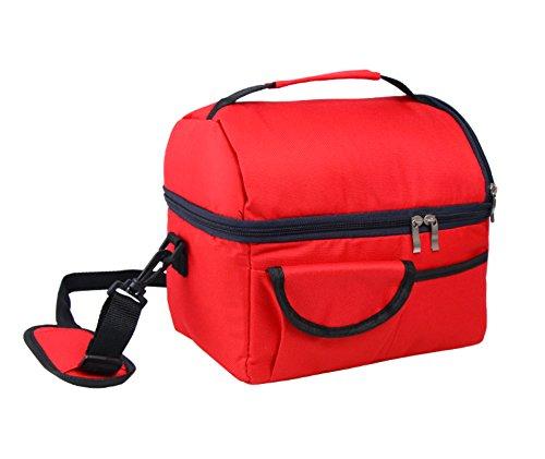 Elonglin - borsa termica portatile, isotermica, in tessuto oxford, impermeabile, grande capienza, da picnic, campeggio, viaggio, sport, scuola, lavoro, maternità rosso