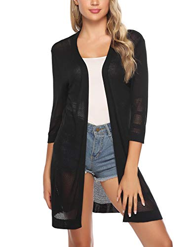 Sykooria Strickjacke Damen 3/4 Arm Komfortabel Leicht Lady Loose Fit Cardigan Basic Tops Schwarz