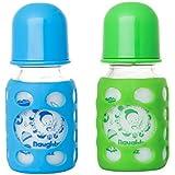 Naughty Kidz PREMIUMWARMER Glass Bottle With Ultrasoft LSR Nipple||Silicone Bottle Warmer||Key TEETHER||Hood Retaining Cap And Sealing DISC RING-120ML+120ML (Blue+Green)