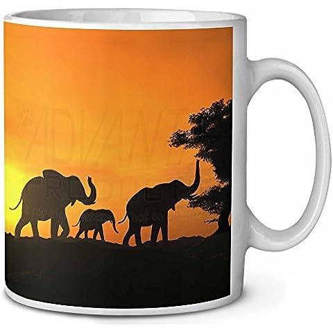 Printed Mugs AE-4MG - Taza, diseño de elefantes y atardecer