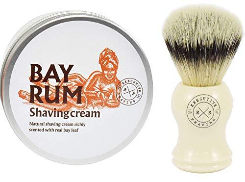 Executive Shaving Kunstfaser Borste Rasieren Pinsel und Bay Rum Rasierschaum (Rasierschaum Simpson)