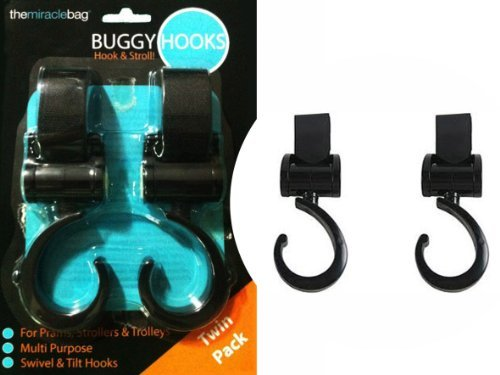 THE MIRACLE BAG - BUGGY PUSHCHAIR STROLLER HOOKS - TWIN PACK