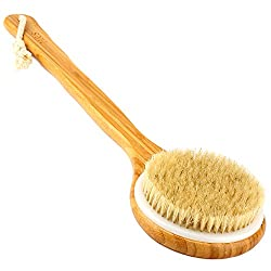 H&S Body Brush Back Scrubber Long Handle Bath Shower Brush Natural Bristles Dry Skin Exfoliating Cellulite Brush Bamboo Wood