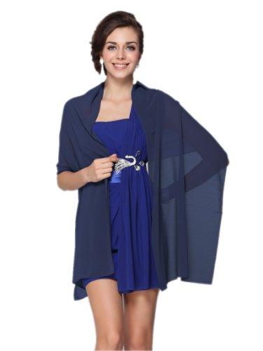 Prettystern - 176CM uni-Farbe leicht Seidenstola Crepe Georgette Schal - dunkel blau