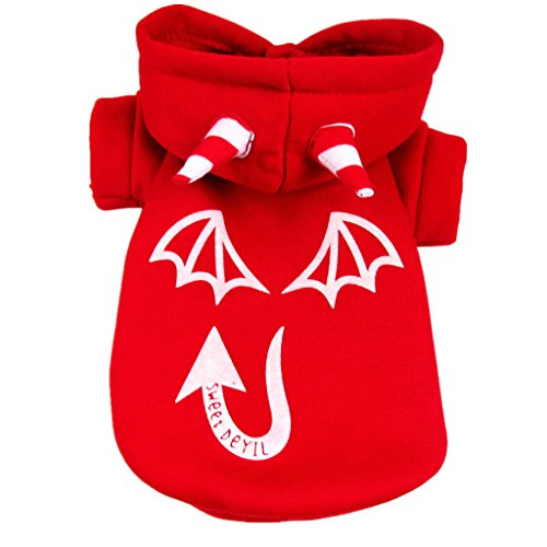 Generic Pet Dog Cat Luminous Devil Hoodies Clothes Shirts Kleidung Jacket Multi - red, XL