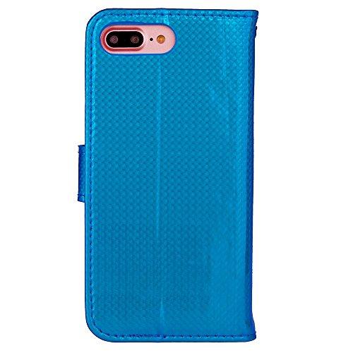 iPhone Case Cover IPhone 7 Plus Boîtier Bright Surface Solid Color PU Housse en cuir Horizontal Flip Stand Case Couverture Avec Support Photo Frame Portefeuille Card Slots ( Color : Gold , Size : IPho Sky Blue