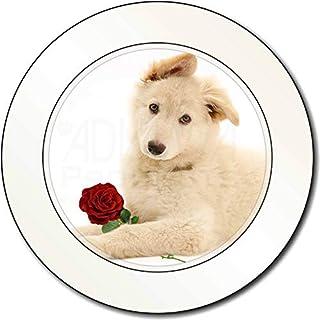 Weißer Schäferhund mit Rose AutovignetteGenehmigungsinhaber Geschenk