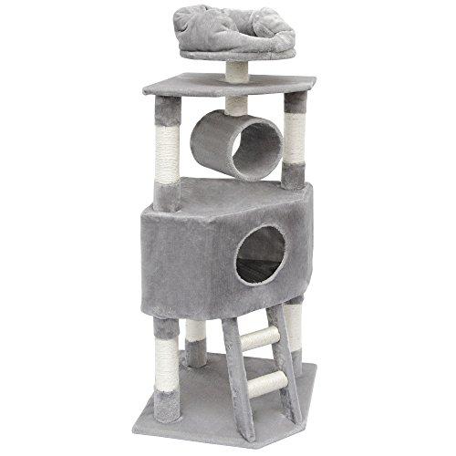 EYEPOWER Kratzbaum Amelie für Katzen in Grau Katzenkratzbaum 52x52x145cm mit Liegeflächen, Sisalsäulen und XXL Schmuse-Katzenhöhle