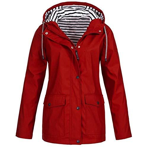 HEATLE Damen Sweatshirt, halten Regenjacke Draussen Übergröße Wasserdicht Mit Kapuze Regenmantel Outdoor-Jacke Taschen Bluse Mit Reißverschluss Lose Lange Oberteile Chemisière Dessus(rot,5XL (EU:50)) -