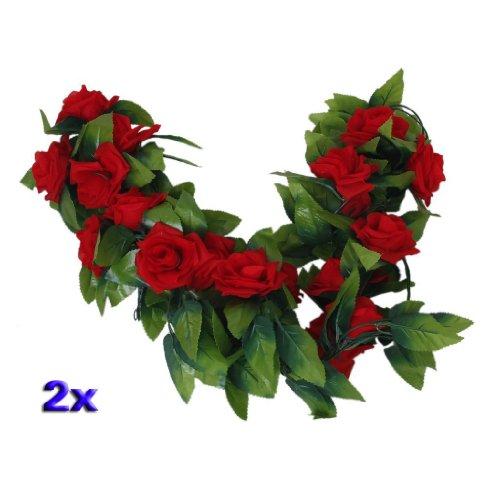 SODIAL(R)2 x Guirlandes de Rose Artificielle de Mariage / Jardin / Decoration d'interieur - Rouge