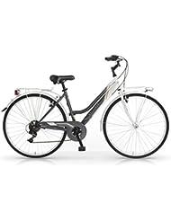 "Bicicletas MBM Attitude Mujeres marco de acero de 18 velocidades de engranajes Shimano 28 "" (Smoke/White)"