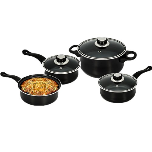 7PC COOKWARE SET STEEL NON STICK GLASS LID KITCHEN PAN POT SAUCEPAN NEW CARBON (BLACK)