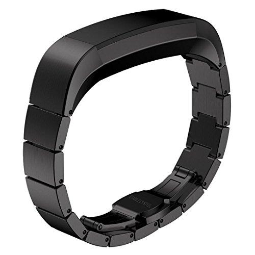 Fitbit Alta Armband, Degbit Fitbit Alta Metall band Edelstahl Ersatzarmband, Smartwatch Ersatz Band Strap Wrist Bands, Unisex Armband Ersatzband Uhrenarmband für Alta Fitness Tracker (Schwarz)
