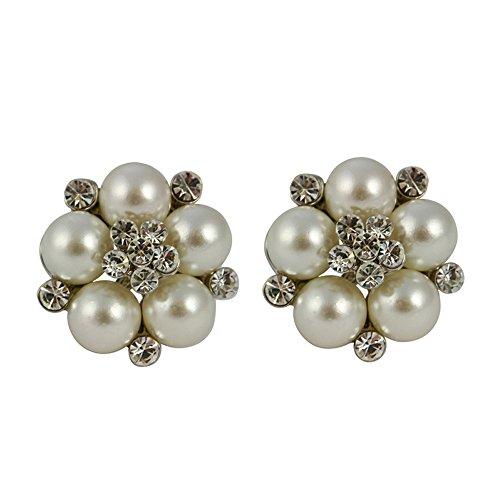 Lovett and Co - Orecchini di perla a clip, in stile Audrey Hepburn, colore: Panna
