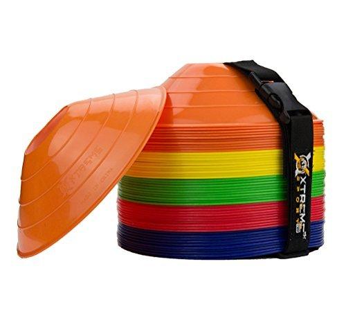 Xtreme Sport DV Premium Fussball Agility Cones, 50er-Pack, leicht stapelbar, mehrfarbig, ideal für Speed-Training, Kinder, Trainer und alle Sportarten. Praktischer Tragegurt im Lieferumfang enthalten. -