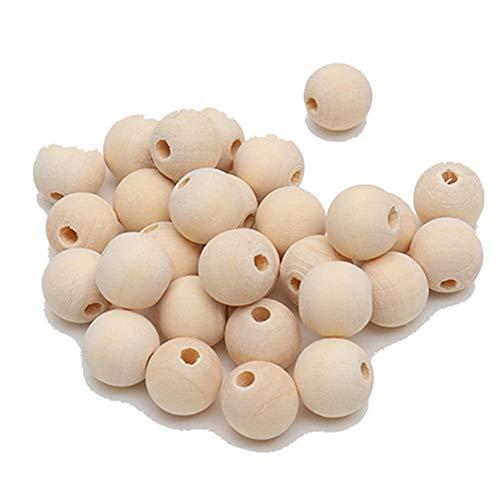 Egurs 100 Stück Bio Runde Holzperlen Natürliche Perlen zum Auffädeln für Schmuckherstellung Gepäckzubehör 6mmmm