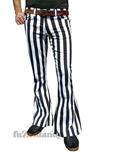 Fuzzdandy Herren Schlaghosen ausgestellt schwarz & Weiß Streifen Hose Jeans - Schwarz/Weiß, 32W x 32L