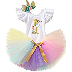 NNJXD Unicornio Arco Iris Tutú Primer Cumpleaños Trajes de 3 Piezas Mameluco + Falda + Diadema de Oro Tamaño (1) 1 año Amarillo y Morado