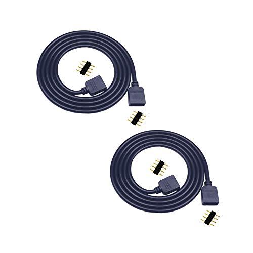 2X 2.5m LED Streifen Verlängerungskabel 4 polig, RGB LED Band Verbinder, 5050 RGB LED Stripe Verlängerung, RGB 2835 3528 LED Strip Schnellverbinder, LED Verbindungskabel, LED Verteiler Kabel, Schwarz