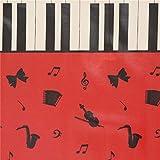 Kokka Rotes Wachstuch mit Noten Instrumenten Klaviertasten