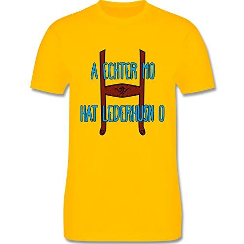 Oktoberfest Herren - A echter Mo hat Lederhusn o - Herren Premium T-Shirt Gelb