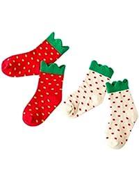 Happy Cherry - (pack de 2 pares) Bebés Niños Calcetines Antideslizantes de Algodón suave Diseño de Fresas Strawberry - Talla 0-1 años / 1-3 años/ 4-6 años - Rojo Blanco