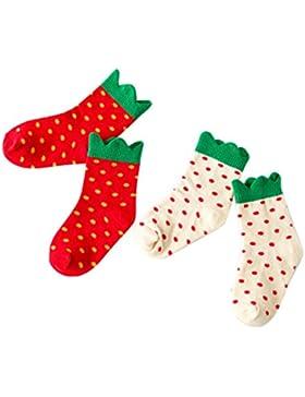Happy Cherry Kinder Mädchen 2 Paar Socken, Baumwolle süße Kindersocken Set für Mädchen (6 bis 10 Jahre alt) -...