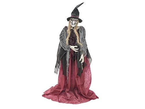 Halloween Hexe ESMERALDA mit Hut, Soundeffekt, LED, 180 cm - Dekofigur / Hexenfigur - (Hexe Animierte)