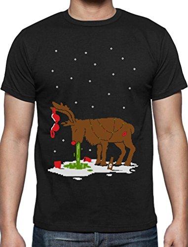 Witziges Ugly Sweater Geschenk Verkatertes Rentier T-Shirt XXXX-Large Schwarz