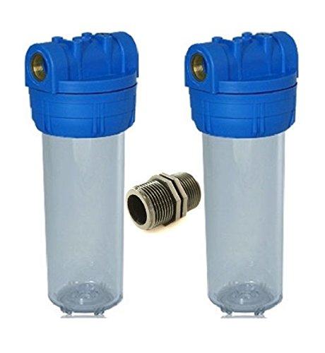 """Planet-Aqua Filtergehäuse Duo 10 Zoll u 3/4\"""" Wasseranschluß/Innengewinde inkl. Gewindemuffe Vorfilter Gehäuse Wasserfilter Umkehr Osmose Trinkwasser Filter Anlage Hauswasserwerk Brunnen Wasser Pumpe"""