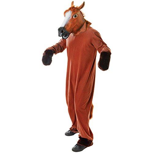 Spassprofi Tierkostüm Pferd Vollkostüm inkl. Kopf Größe (F) 48-52 (M) 48-54 Tier Kostüm Pferdekostüm
