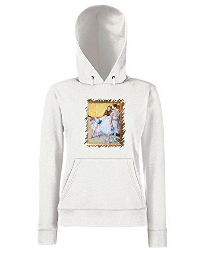 T-Shirtshock - Sweats a capuche Femme TDA0005 degas97 paura durante una lezione di danza Blanc