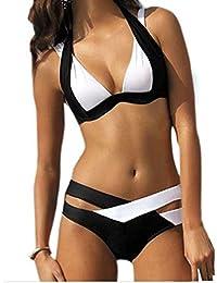 SUNNOW® Hot Sexy Bikini Criss Cross Double Bandage deux pièces Maillot de bain rembourré Trikini Push-up