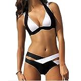 SUNNOW® Hot Sexy Bikini Criss Cross Double Bandage deux pièces Maillot de bain rembourré Trikini Push-up (L, Blanc)