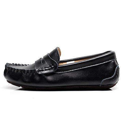 Shenn Homme Bout Rond Slip-ons Désinvolte Mocassins Chaussures Noir
