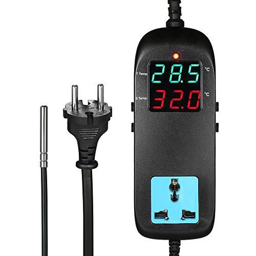 KKmoon Microcomputer digitaler Temperaturregler Elektronischer Thermostat 90-250V 10A【LCD Bildschirm/Thermostat mit Steckdose/Bauernhof Temperaturregler】