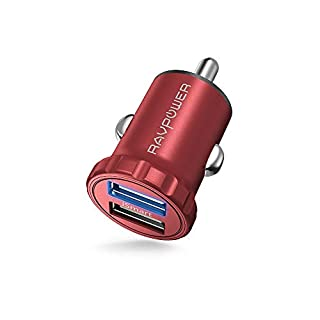 Auto Ladegerät RAVPower 2-Port 24W 4,8A Super Mini USB Ladeadapter mit iSmart Technologie für iPhone X XR XS Max 8 7 6 Plus, iPad Pro Air Mini, Galaxy S9 S8 Plus, Huawei, HTC, Mp3 usw. Rot