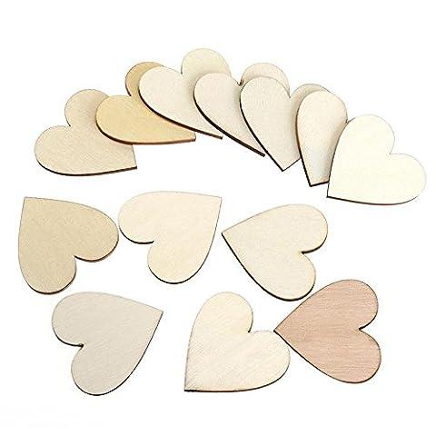 Skitic 100 Stück 60mm Holzherzen Verzierungen Unlackiert Natürliche Pfirsich Herz Holz Scheiben DIY Handwerk Embellishments für
