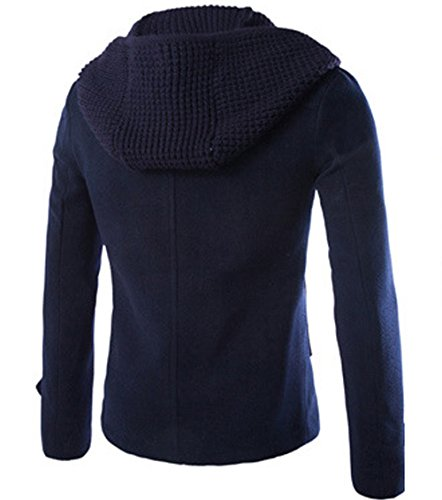 Herren warm Zweireiher Wollmantel Cabanjacke Kurzmantel Winter Jacke Marineblau