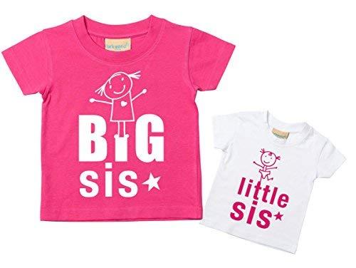 Big Sis Kleiner Sis T-Shirt Set Schwester T-Shirt Schwestern Baby Kleinkind Kinder Rosa oder Lila 0-6 Monate bis 14-15 Jahre Baby Schwester Geschenk - Big Kinder Bekleidung Lila