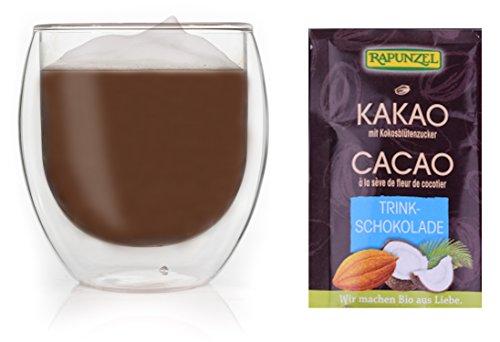 Feelino 1x 410ml Jumbo XL doppelwandiges Thermoglas + 1x hochwertige BIO-Trinkschokolade mit hohem 30% Kakaoanteil, Kokosblütenzucker und mit natürlichem Bourbon Vanille Aroma / doppelwandiges Thermo Glas mit Schwebe-Effekt