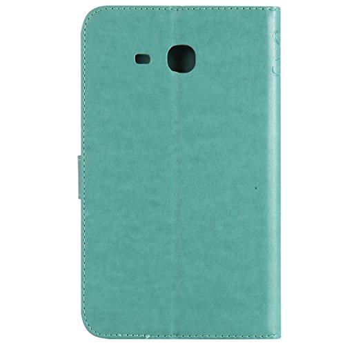 Samsung Galaxy Tab A 7.0 Etui, Samsung Galaxy Tab A 7.0 Housse, BONROY Arbre et Chats Slim Smart Cover Case Coque Etui TPU Souple Bumper pour Samsung Galaxy Tab A 7.0 SM-T280 avec Stand Support et la  Fille et Chat - vert