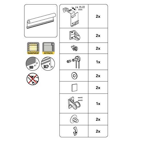 GARDINIA Doppelrollo zum Klemmen oder Kleben, Duo-Rollo/ Seitenzugrollo, Transparente und blickdichte Streifen, Alle Montage-Teile inklusive, Weiß, 120 x 150 cm (BxH) - 10