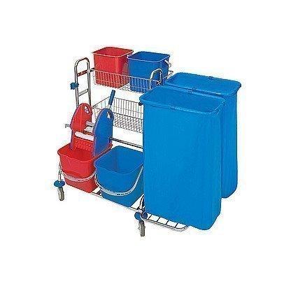 Splast Reinigungsset verchromt: 4 Eimer, Moppresse, 2 Körbe, 1 oder 2 Beutelhalter, Variante:2x 120l Beutelhalter