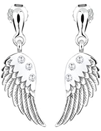 Elli Damen-Ohrstecker Flügel 925 Sterling Silber Zirkonia weiß Brillantschliff 302222312