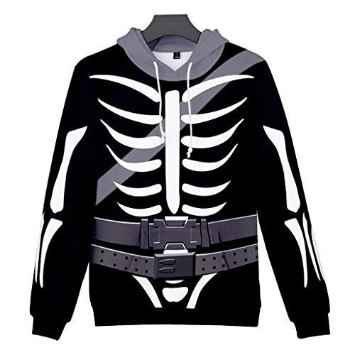 Aoogo Herren Hoodie 3D Print Kapuzenpullover Sweatshirts Mit Kapuze Pullover Unheimliches Halloween Hoodies Skull Sweatjacke Outwear