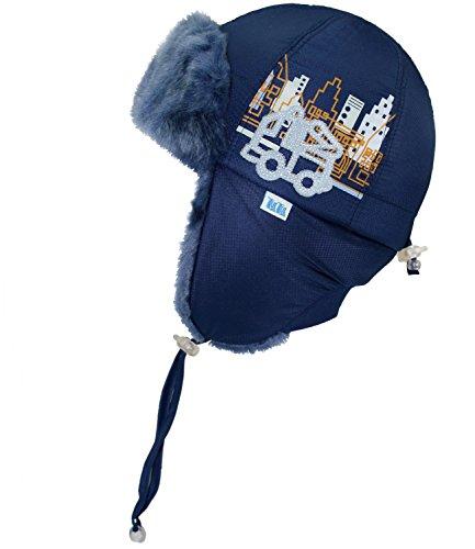 Militär Ball Cap (TuTu Babyfellmütze Jungenfellmütze Fellmütze Pelzmütze Pilotenmütze Kosakenmütze Wintermütze mit Skyline für Baby (TU-002042-W16-BJ0-6-44/46) in Navy, Größe 44/46 inkl. EveryKid-Fashionguide)