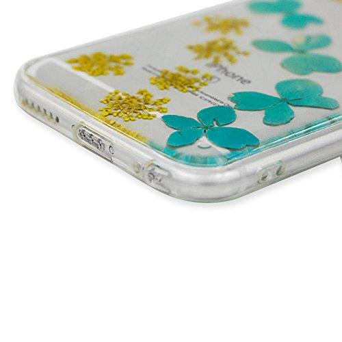 iPhone 6S Plus Hülle Weiches Silikon Gummi Schutz Case,iPhone 6 Plus Stilvoll Elegant Ultra Slim Dünn Passt Perfekt [ Echt Getrocknete Blumen Gepresste ] Klar Kristall Handyhülle,TPU Leicht Mode Soft  Blau Gelb Blumen