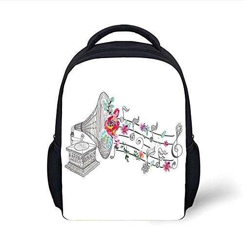 Kids School Backpack Music Decor,Vintage Gramophone Record Player with Floral Ornament Blossom Antique,Grey Pink Plain Bookbag Travel Daypack (Player Belt Record)