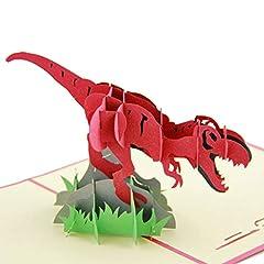 Idea Regalo - Biglietto di auguri pop-up 3D con dinosauro, per festa del papà, festa della mamma, Natale, compleanno, dinosauro red